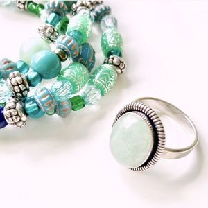 Amazonite Ring Size 8 Sterling Silver Green